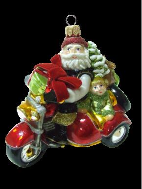 Julekugle-julemand-motorcykel-Håndlavet