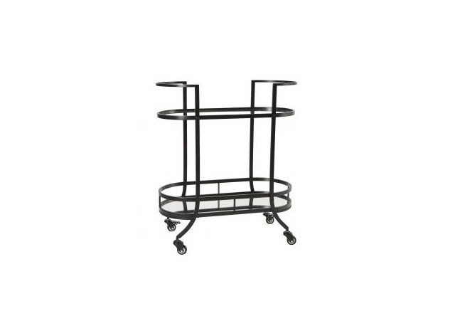 Bar trolley black w mirror shelves - Margit Brandt