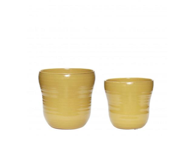Keramik Pots in yellow - 2pc