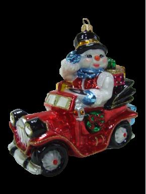 Julekugle snemand i bil - Håndlavet