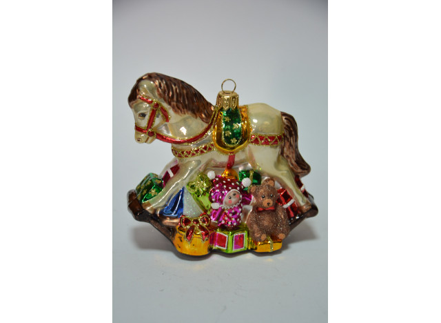 Christmas Ornament Rocking Horse w Gifts