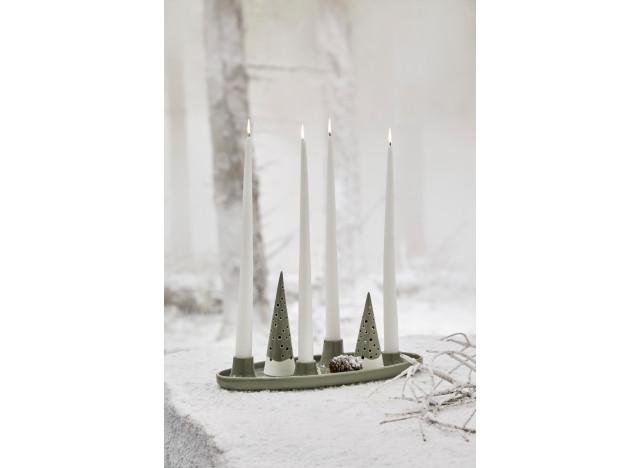 Christmas Candlestick Oliv Green 33x13cm