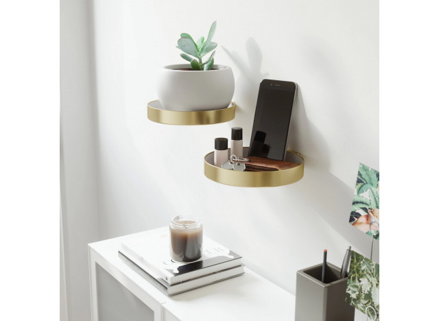 Wall Shelf Round Metal Brass Set 2