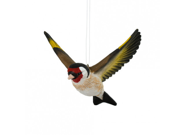Deko bird flying gold finke