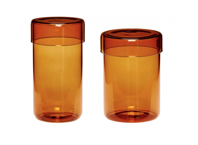 Storrage Glass 2pc w lid in Amber