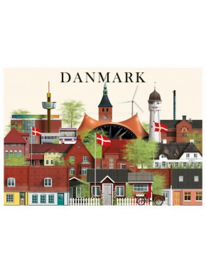 Danmark kort - 2 - A5