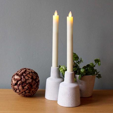 LED lys med bevægelig flamme - 3 pak beigegrå/remote