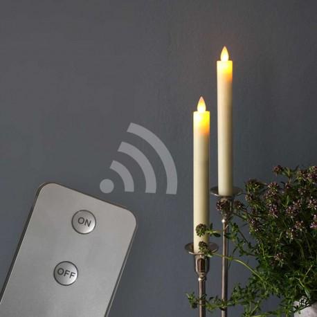 LED kronelys - 2 pak remote med bevægelig flamme