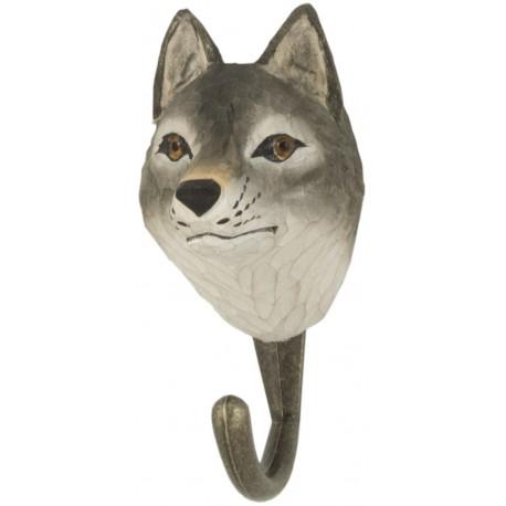 Handcarved hook Grey Wolf