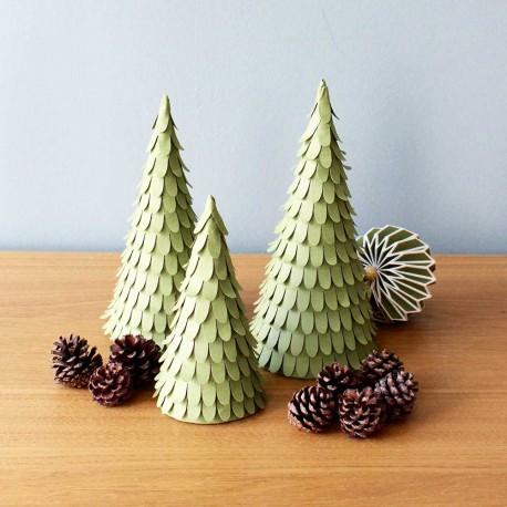 Papir juletrær - Sæt af 3