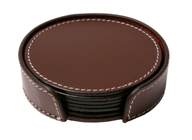 Glasskåner Læder 6-pak Chocolat