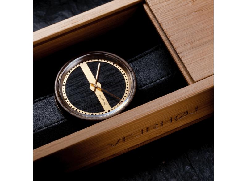 Wood watch, Natic 68, walnut wood/gold