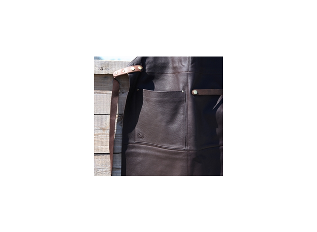 Apron in leather - color Chocolate