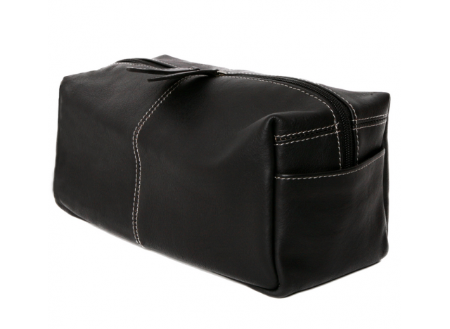 Toiletbag leather L Black