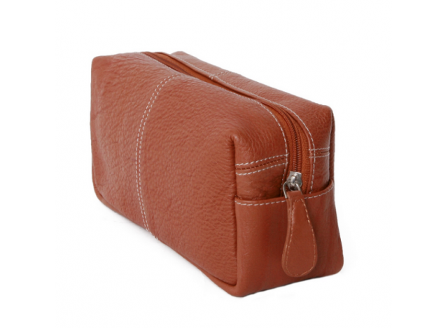 Toiletbag leather S Cognac