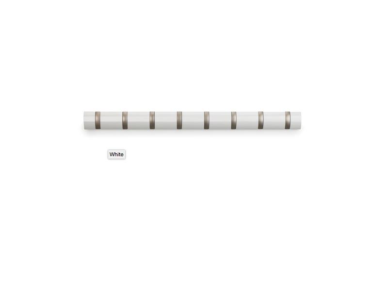 Knagerække Flip 8-Hook Hvid