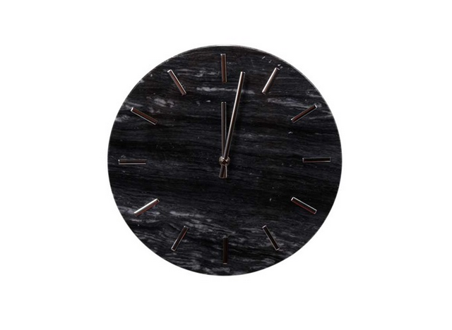 "Wallclock ""Timeless"" Marble black/darkgrey"