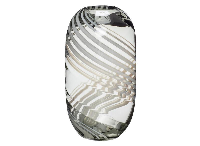 Vase Glass Green White 28 cm