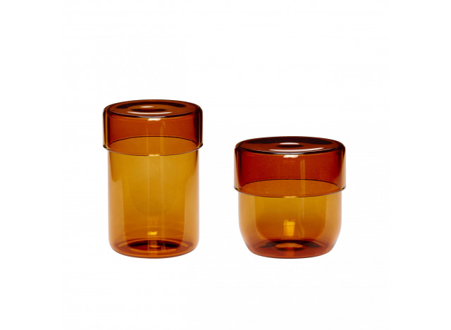 Storage glass with lid Amber yellow 2-pc