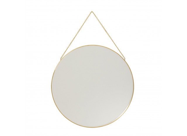 Wall mirror with chain Brass Ø40cm