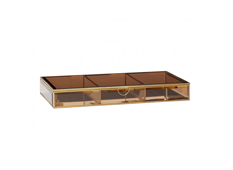 Glass box Brass Brown 35x19x5cm