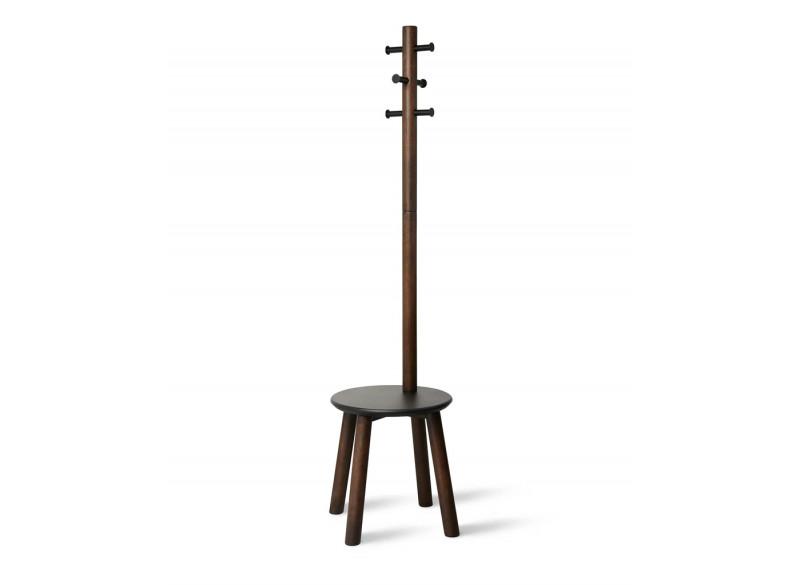 Pillar stol m tøjstativ sortvalnød