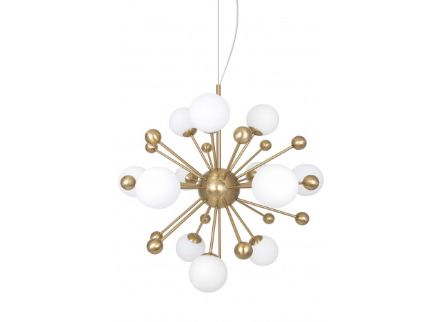Chandelier antik brass and opal glas