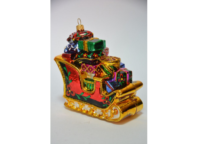 Christmas Ornament Sleigh w Gift-Pillow