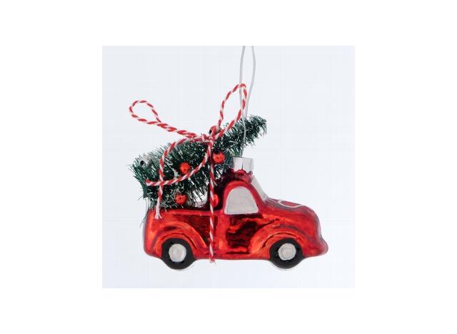Julekugle Bil m Juletræ Rød