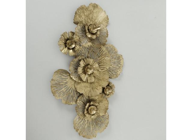 Vægdeco Blomstermotiv guld