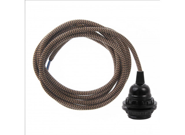 Brown fabric cord with socket - 3 meter