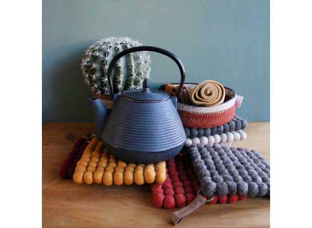 Trivet felted wool with leather strap - many colors