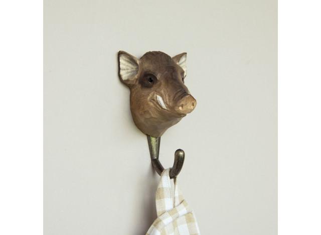 Handcarved hook Wild Boar