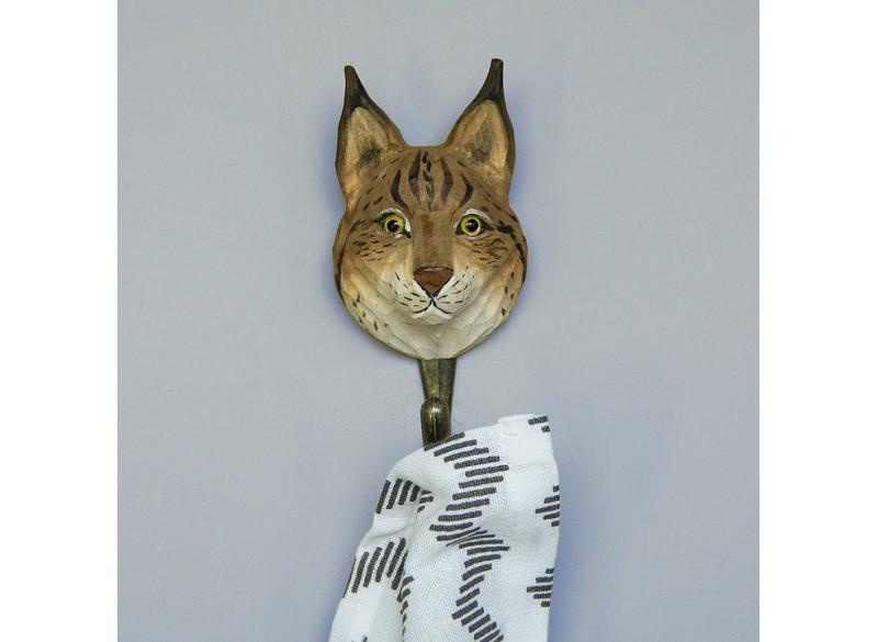 Hand-carved hook Euroasian Lynx